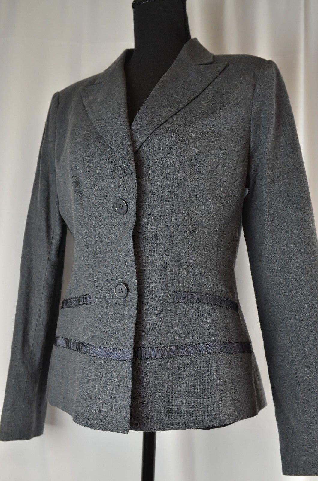 New Carriere Studio Women's Blazer Size 38 Linen Blend Charcoal Career 8 US  260