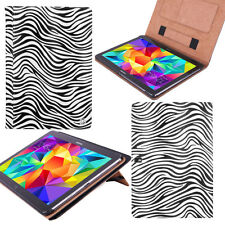 """White Zebra PU Tablet Stand Cover Folio Case for Samsung Galaxy Tab S2 10"""" 10.1"""""""