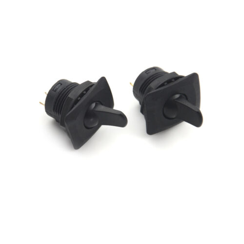 2pcs R13-402 Black 3Pin 2Position Maintained SPDT Round Toggle Switch Pe