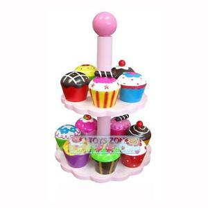 Details About Wooden Cupcakes Stand Kids Toy Pretend Play Food Kitchen Dessert 12 Cup Cakes