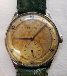 Dettagli su Antico orologio ZENITH uomo da polso manuale anni 40 50 Funzionante RARO