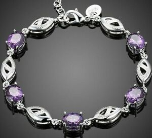18K-White-Gold-Filled-Tennis-bracelet-with-Oval-shaped-Purple-Amethyst-ITALY