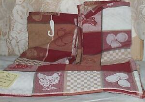 Details about Rooster + Eggs Kitchen Towels Cotton Country Farm 5 Pc  Decoration Towel