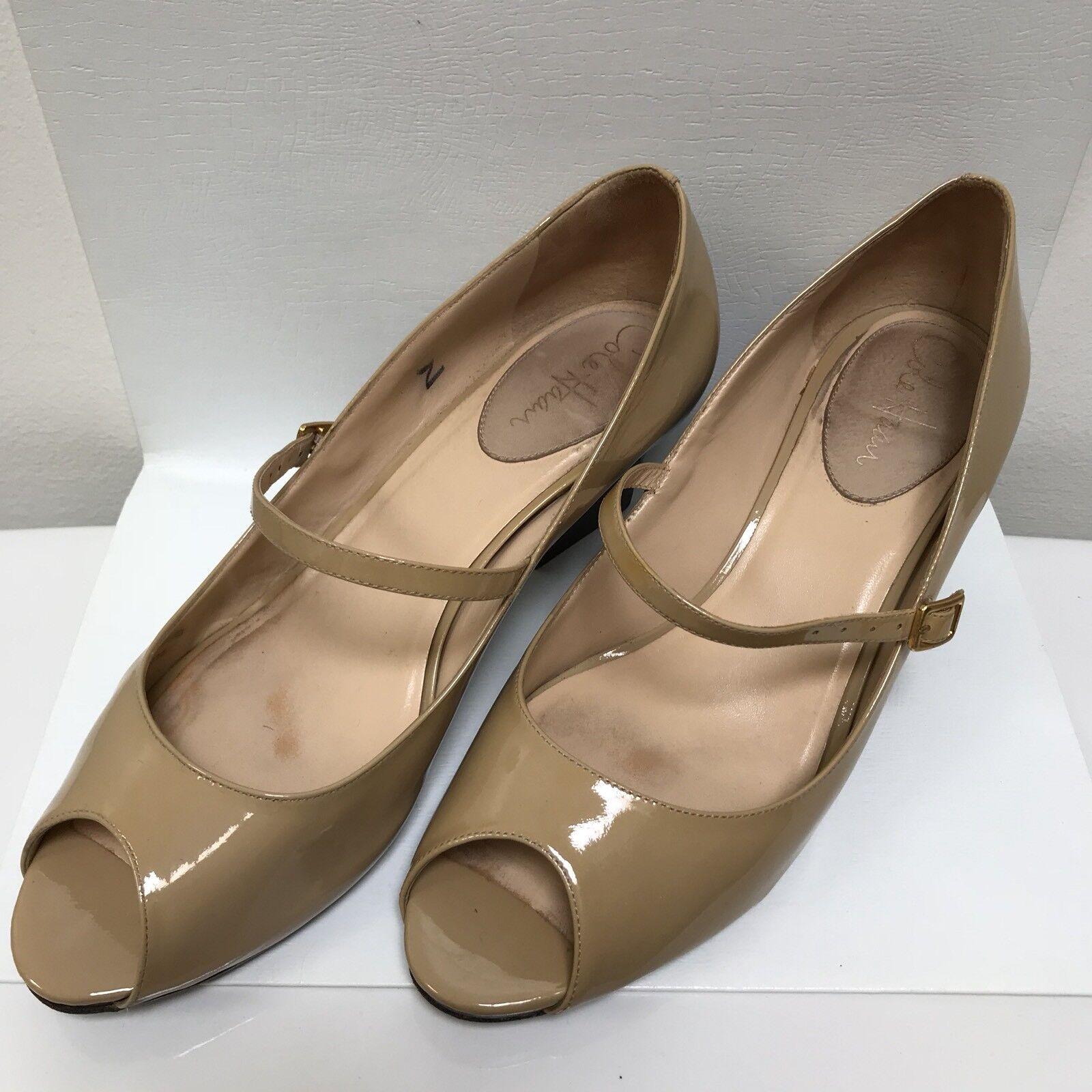 Cole Haan Tan Patent Leder Mary Jane Heels Open Toe 9 1/2