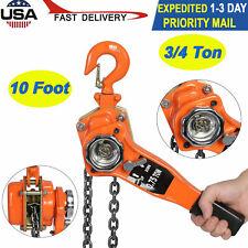34 Ton Lever Block Hoist Chain Ratchet Come Along Chain Hoist 10 Foot Lift New