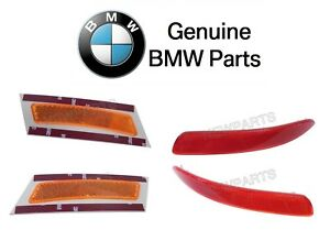 For BMW X5 07-2013 Set Pair of 2 Front Reflector Bumpers Cover Yellow Genuine