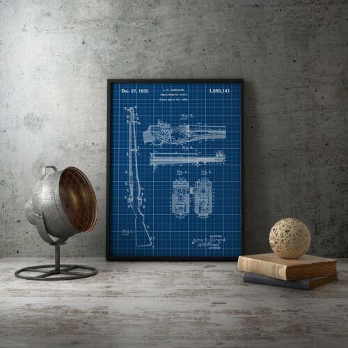 Rifle 1932 Blueprint Semiautomatic Rifle Patent Art Print Man Cave Decor,Hunt