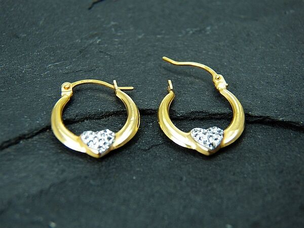 9ct Yellow gold Reversible Crystal Heart Creole Earrings  Stamped 375 GiftBox