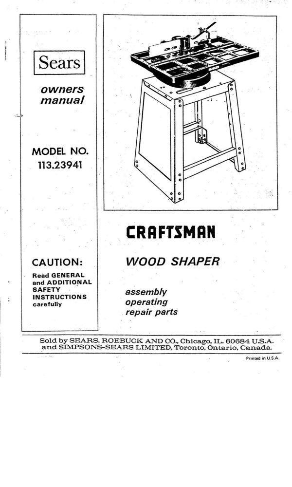 1975 Craftsman 113.23941 Wood Shaper Instruction manual FREE SHIPPING