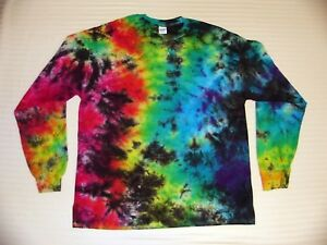 14cce19d25b34 Details about Tie Dye T Shirt Long Sleeve Adult Youth Crinkle Tye Die  Cotton S M L XL 2XL 3XL