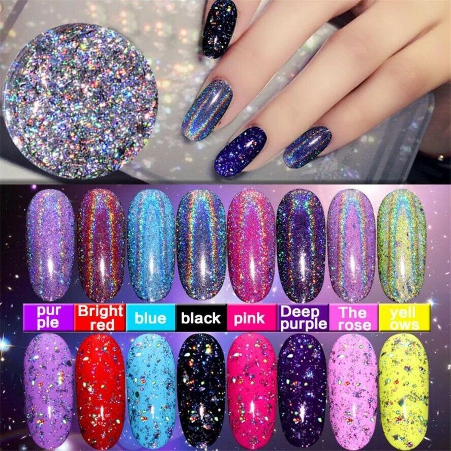 GALAXY HOLO FLAKES Chrome Holographic Nail Sequins Unicorn Powder ...