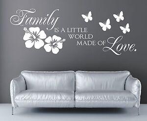 X34-WANDTATTOO-Spruch-Family-is-world-love-made-Familie-Wandaufkleber-Wanddeko