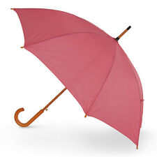 The Alrai Wood Hook Automatic Walking Umbrella for Wedding and Events - Pink