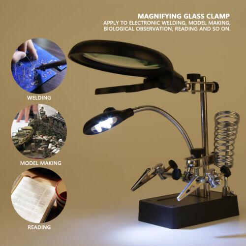 Dritte Hand Löthilfe Bastelhilfe mit LED-Lampe 2,5X 7,5X 10X fach Linsen TA 05