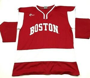 VINTAGE Colosseum Boston University Terriers Hockey Jersey Size Large L Stitched