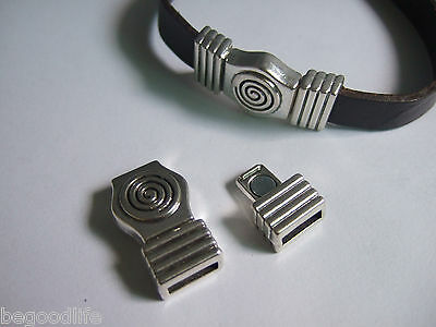 3 Sets Antique Silver Swirl Strong Magnetic Clasp For 5mm 10mm Flat Leather Cord