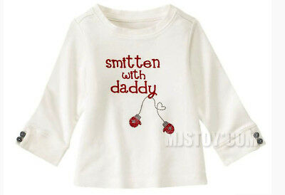 NWT GYMBOREE Cute White Smitten With Daddy Long Sleeve Winter Tee T-Shirt