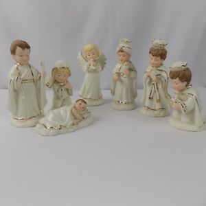 Nativity-Set-7-piece-Porcelain-Dillard-039-s-Trimmings-Children-Christmas-Holiday