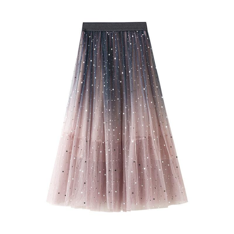 Damen Tüllrock Plissiert Tutu Star Pailletten Gradient Netz A-Linie Midi Röcke