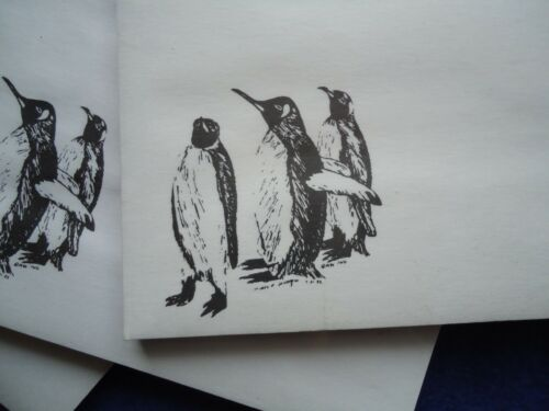 Penguins Trio 3 Notepads 50 Sheets 8.5 x 5.5 New Black /& White Drawing New