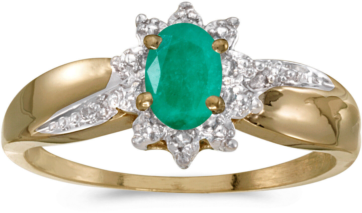 14k Yellow gold Oval Emerald And Diamond Ring (CM-RM911X-05)