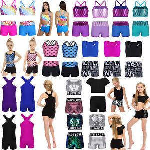 Girls-Ballet-Gymnastics-Leotard-Bra-Top-Shorts-Kids-Outfit-Sports-Gym-Dance-Wear
