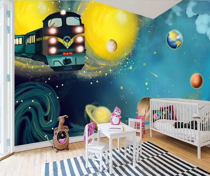 3D Schöne Planeten, Zug 266 Fototapeten Wandbild Fototapete BildTapete Familie