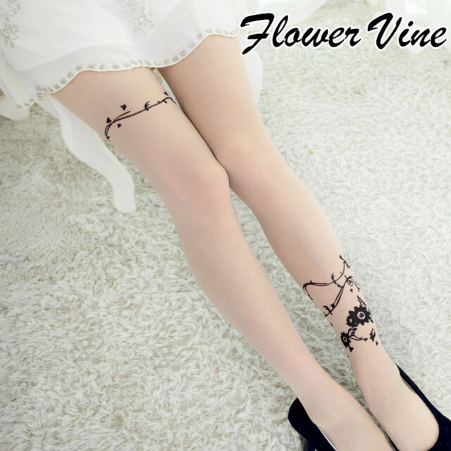 Cartoon Pattern Transparent Sheer Pantyhose Tights Sexy Stockings