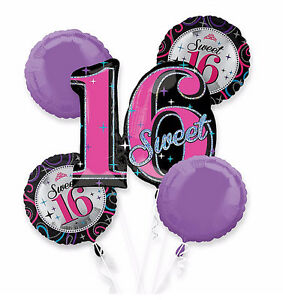 4e5b482490 Image is loading Celebrate-Sweet-Sixteen-Happy-Birthday-Foil-Balloon -Bouquet-