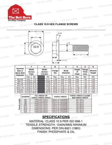 up to 60% off (5) M10-1.5x30 Metric Hex Flange Bolts Grade 10.9 ...