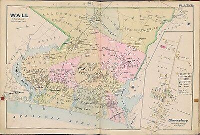MONMOUTH COUNTY 1889 EATONTOWN OCEAN /& NEPTUNE TWPs NEW JERSEY ATLAS MAP
