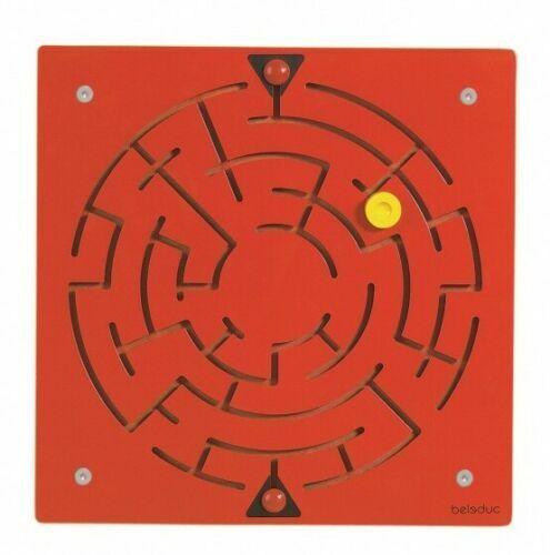 BWARE Wandspiel Labyrinth Beleduc 23610 Geschicklichkeitsspiel 40x40x1,8 cm rot