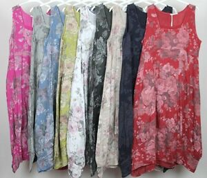 New-Ladies-Floral-Italian-Lagenlook-Quirky-Long-Boho-Pocket-Linen-Tunic-Dress