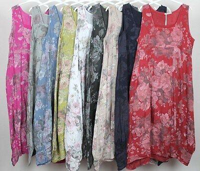New Italian Ladies Flower Print  Scoop Neck Summer Cotton Tunic Dress