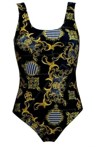 Baroque Floral Damask Chain Harlequin Zebra Scarf Print Swimsuit Bodysuit Top