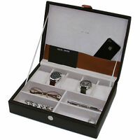 Valet Leather Black For Watches Pens Eyeglasses Jewelry