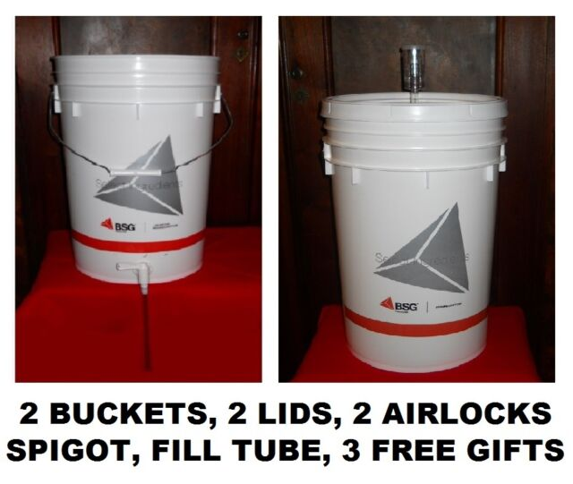 BEER EQUIPMENT KIT 2 6.5 GALLON BUCKETS 2 LIDS 2 AIRLOCK SPIGOT MR BEER UPGRADE