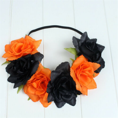 Large Elastic Rose Flower Headbands Hair Band Crown Festival Garland Boho Summer