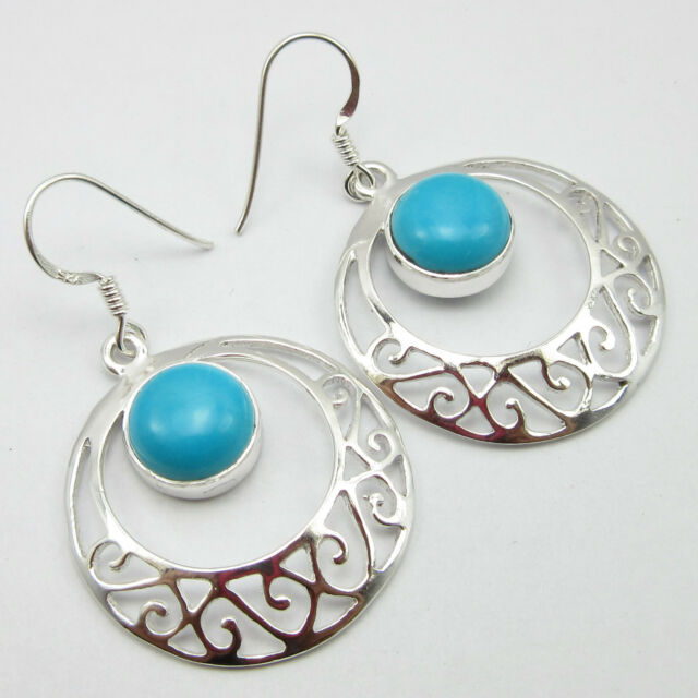 925 Sterling Silver Natural ROUND TURQUOISE CELTIC Earrings 1 3/4 Inches Jewelry