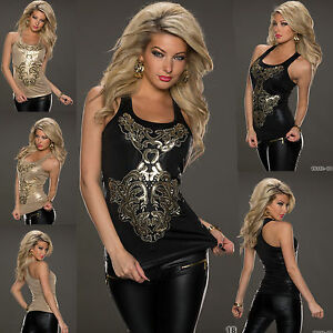 Women-039-s-Top-Ladies-Fancy-Vest-Blouse-Clubbing-Gold-Black-Shirt-Size6-8-10-12