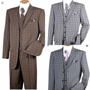 New-Men-039-s-Fashion-Suit-3-Button-Pleated-Front-Check-Design-5802V6