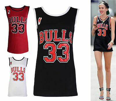 LADIES WOMENS BULLS 33 VARSITY AMERICAN BASKETBALL JERSEY VEST T-SHIRT TOP