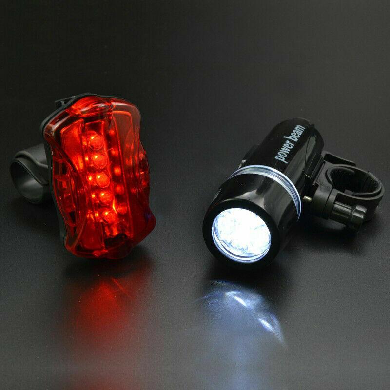 Rear Safety Flashlight Set 5 LED Lamp Waterproof Bike Bicycle Front Head Light