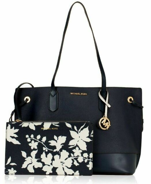 eca07adb3771c5 Michael Kors Navy Trista Leather Drawstring Tote Shoulder Bag With ...