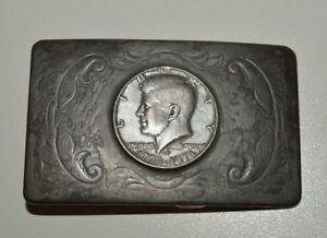 Vintage-1976-Coin-Collector-JFK-Half-Dollar-Western-Custom-Belt-Buckle-Rare