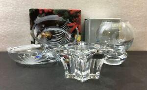 Christmas Crystal 3pc Lot:  Villeroy & Boch, Mikasa, Studio Nova Bon Bon