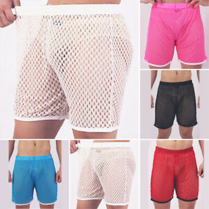 Male-Shorts-Mens-Shorts-Transparent-Sports-Elastic-Waistband-Beach-Solid-Color