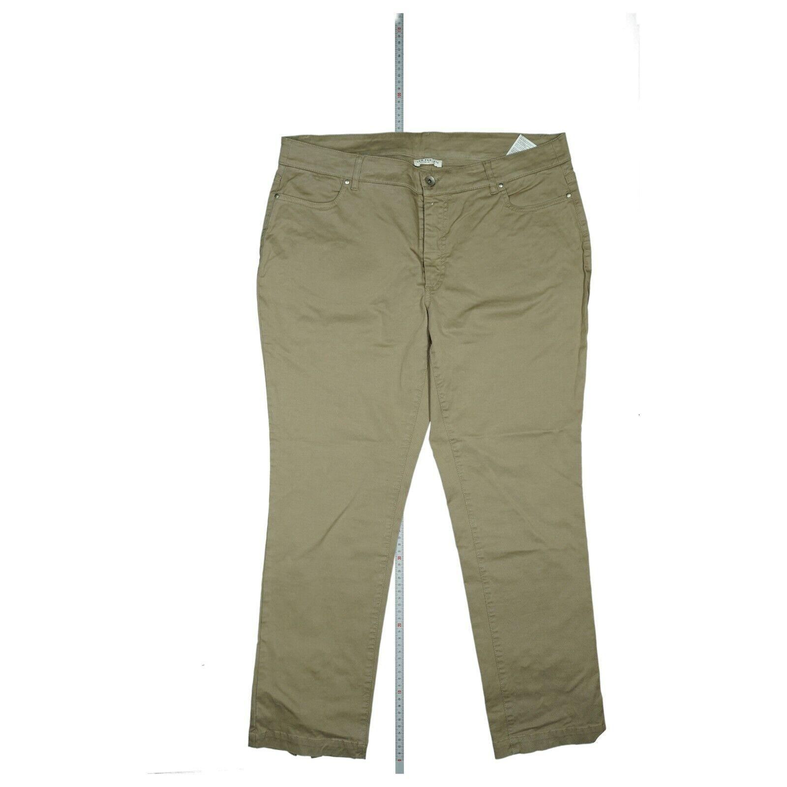 Sem Per Lei Damen Jeans 3/4 Hose stretch high Waist Zip Bermuda 42 XL Beige NEU