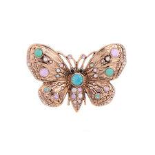 Broche Doré Papillon Insect Cristal Rose Vert Menthe Original Mariage XZ2