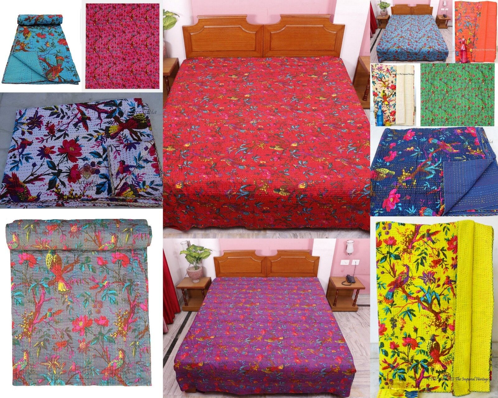 Indian Blanket Quilt New Handmade Bird Kantha Twin Christmas gift Bed Cover